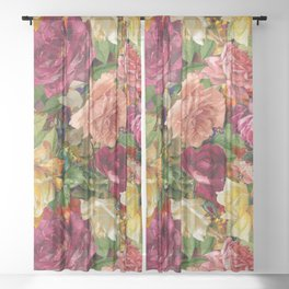 Large roses summer garden red background  Sheer Curtain