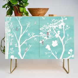 Chinoiserie Panels 1-2 White Scene on Teal Raw Silk - Casart Scenoiserie Collection Credenza