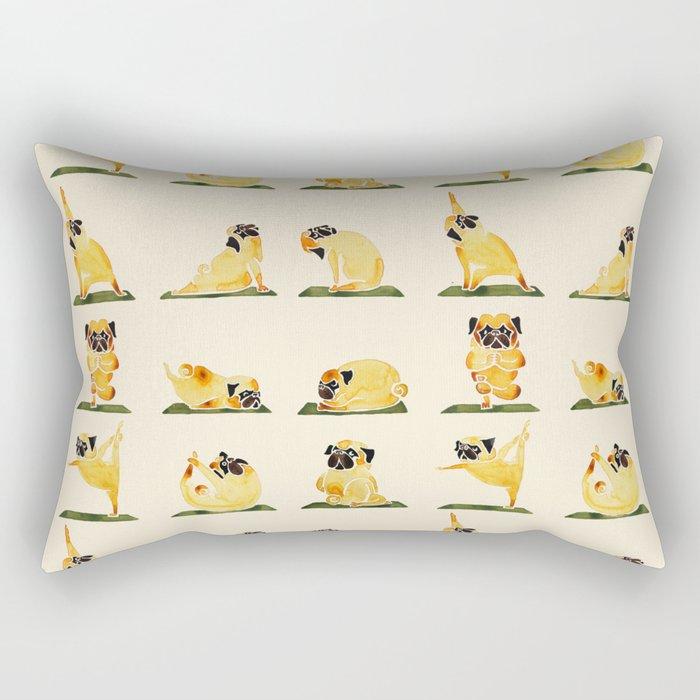Pug Yoga Watercolor Rectangular Pillow