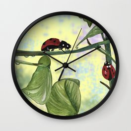 Love bugs in the garden Wall Clock