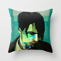 wes anderson Throw Pillows featuring Brett Anderson by zomplag