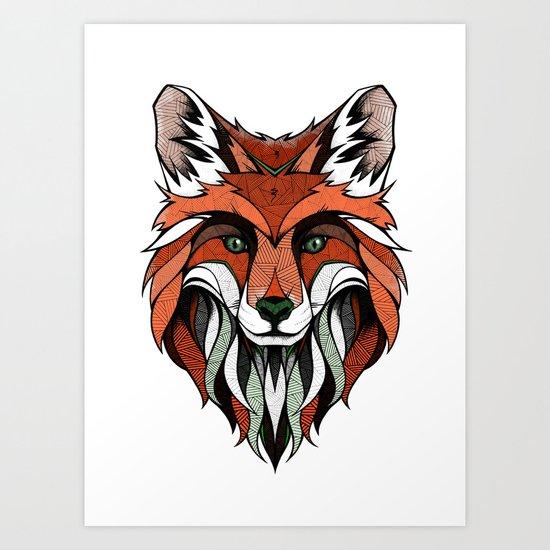 Fox // Colored Art Print