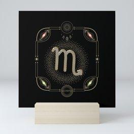 Golden zodiac scorpio sign Mini Art Print
