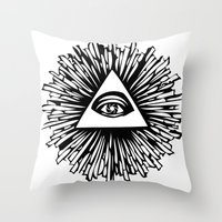 all seeing eye Throw Pillows featuring All seeing camera eye by dsimpson