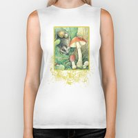 mushrooms Biker Tanks featuring Mushrooms by Natalie Berman