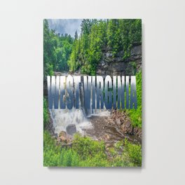 West Virginia Blackwater Falls Text Print Metal Print