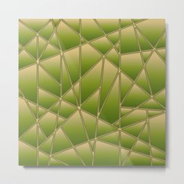 'Quilted' Geometric in Golden Lime Metal Print