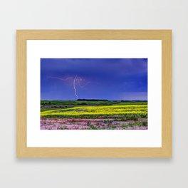 Lightning & Canola Framed Art Print