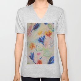 Floral Daydream Abstact Collage Painting Unisex V-Neck