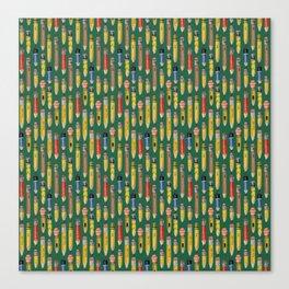 Little Pencils Green Canvas Print