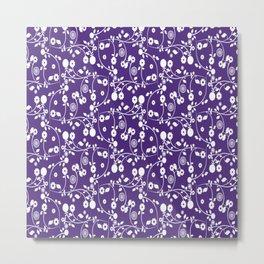 Indigo Purple Floral Pattern Metal Print