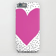 Pink heart with grey dots around Slim Case iPhone 6s