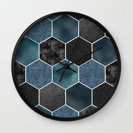 Midnight marble hexagons Wall Clock