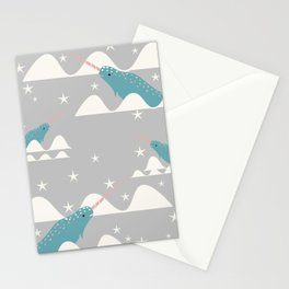narwhal in ocean grey Stationery Cards