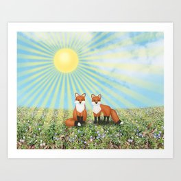 2 foxes Art Print
