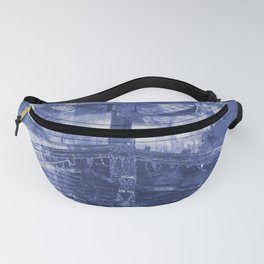Totem Cabin Abstract - Stonewashed Denim Fanny Pack