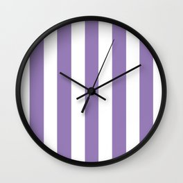 Lavender purple - solid color - white vertical lines pattern Wall Clock