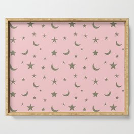 Pink background with grey moon and star pattern Serving Tray