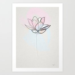 One line Lotus Art Print