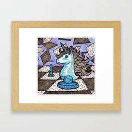 Unicorn Knight Sprinkles Chessboard Framed Art Print