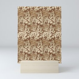 Jacobean Flower Damask, Brown and Taupe Tan Mini Art Print