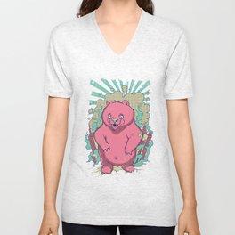 Pink bear Unisex V-Neck