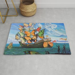 Salvador Dalí - Ship with butterfly sails Rug