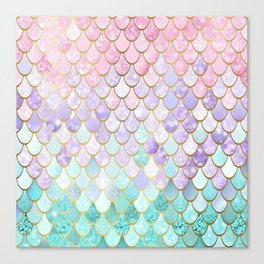 Iridescent Mermaid Pastel and Gold Canvas Print
