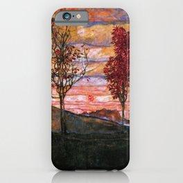 Quatre arbres (Group of Four Trees), Autumn Sunset by Egon Schiele iPhone Case