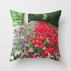 Tulips Path Throw Pillow