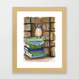Owl the Librarian Framed Art Print