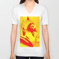 buddah V-neck T-shirts featuring Buddah Head 04; Orange Blush by Kether Carolus