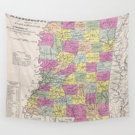 Vintage Map of Mississippi (1853) Wall Tapestry