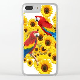 RED  & BLUE MACAWS LOVE YELLOW SUNFLOWERS ART Clear iPhone Case