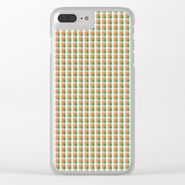 Small Orange White and Green Irish Gingham Check Plaid Clear iPhone Case