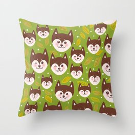 seamless pattern funny brown husky dog and leaves, Kawaii face with large eyes and pink cheeks Throw Pillow