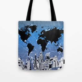 world map city skyline 8 Tote Bag