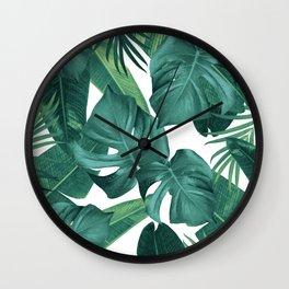 Tropical Summer Jungle Leaves Dream #2 #tropical #decor #art #society6 Wall Clock