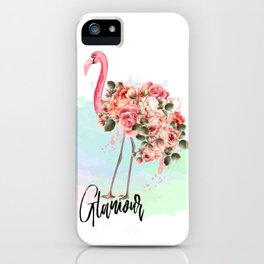 Pink flamingo with roses. Tropical design iPhone Case
