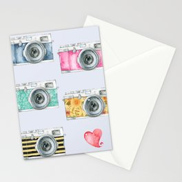 Five Vintage Cameras in Watercolor Stationery Cards
