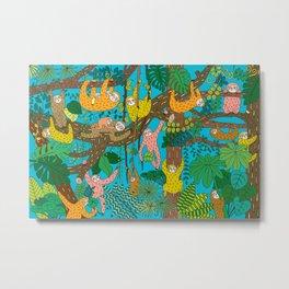 Happy Sloths Jungle Metal Print