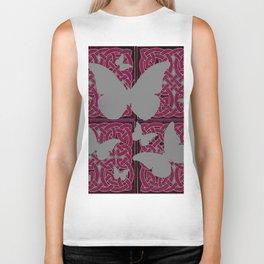 Grey Mystic Butterflies Burgundy Purple Celtic Art Biker Tank