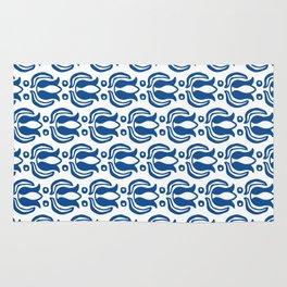 Tulip Pattern Blue Rug