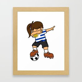 Uruguay Soccer Ball Dabbing Girl Uruguayan Football Framed Art Print 4538c11fa
