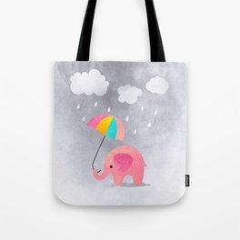 Elephant on the Rain Tote Bag