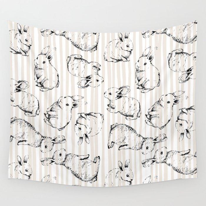 Vintage Bunnies Wall Tapestry
