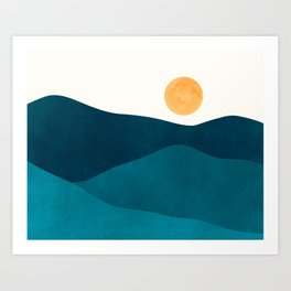 Teal Mountains / Minimalist Landscape Art Print