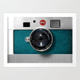 Blue Teal retro vintage camera with germany lens Art Print