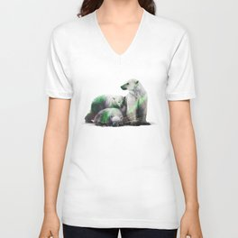 Arctic Polar Bear Family Unisex V-Neck