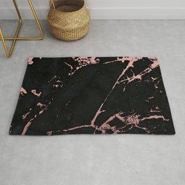 Black rose-gold marble Rug